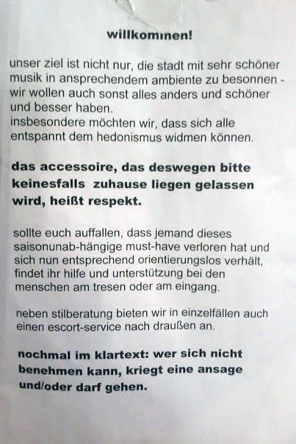 Nachtleben Berlin Regeln Verhaltensregeln gutes schlechtes Benehmen im Club