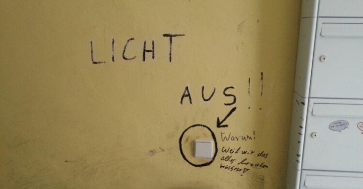 Licht ausschalten Hausflur