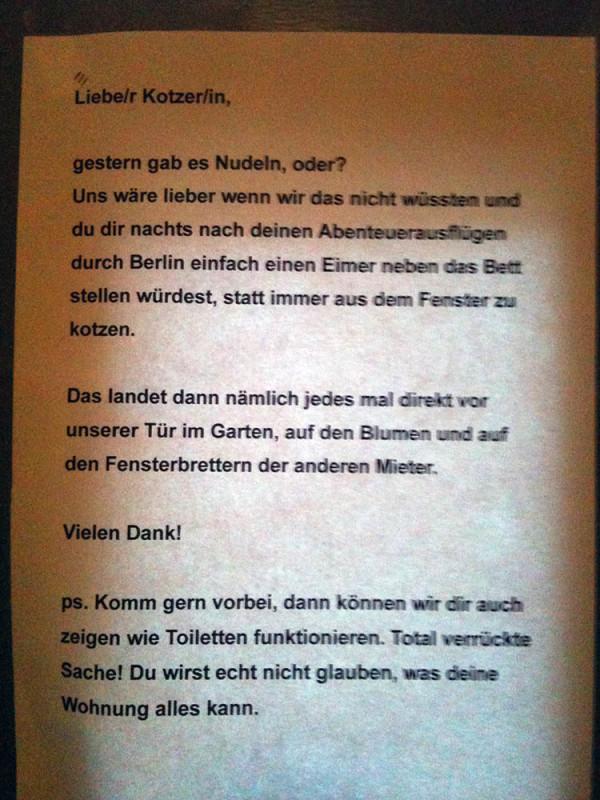Kotzen in Berlin-Nudeln