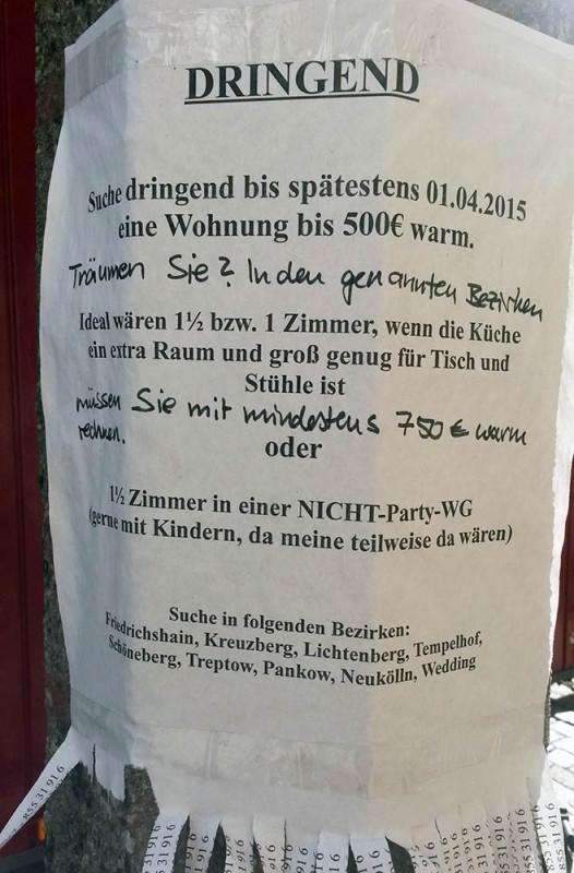 Wohnung dringend gesucht in Berlin