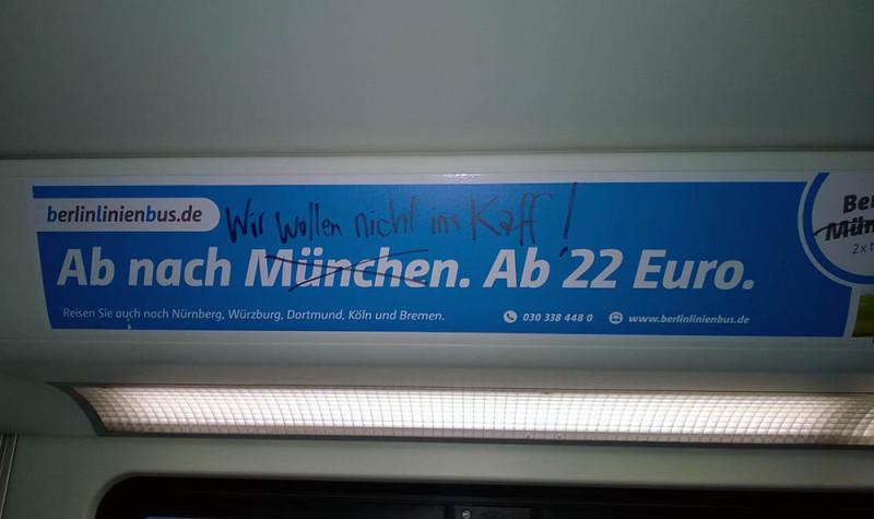 Berlin Lininienbus Muenchen Adbusting