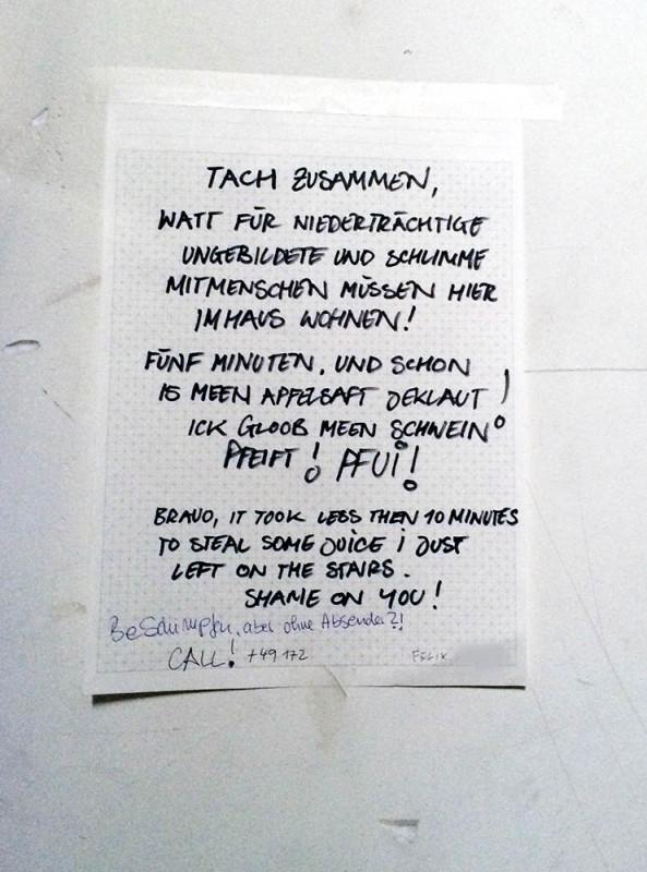 Diebe Hausflur Nachbarn Berlin