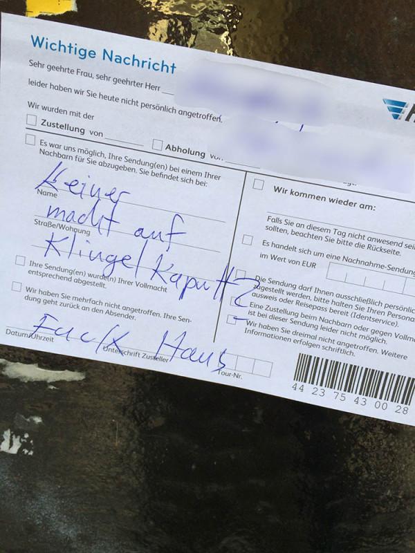 Hermes Postboten Berlin Faul