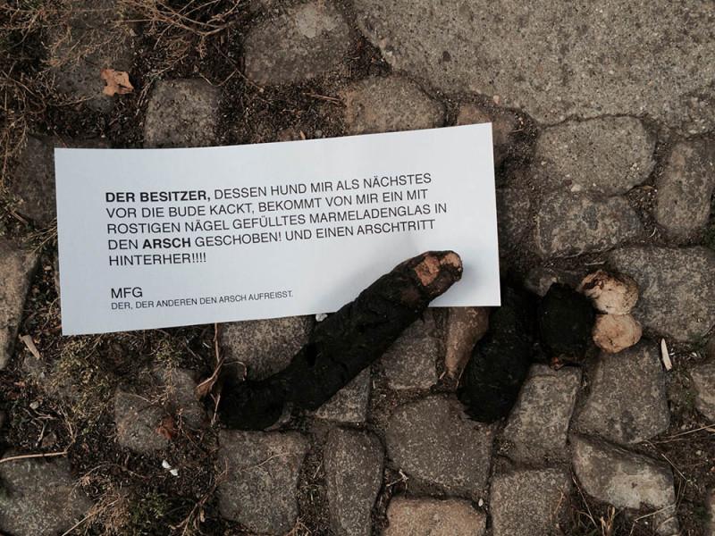 Hundekacke in Berlin. Hundescheiße. Hunde. Vierbeiner. Herrchen und Frauchen. Köter. Drecksköter.