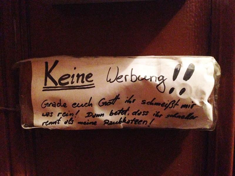 Keine Werbung Berlin Briefkasten Hinweis