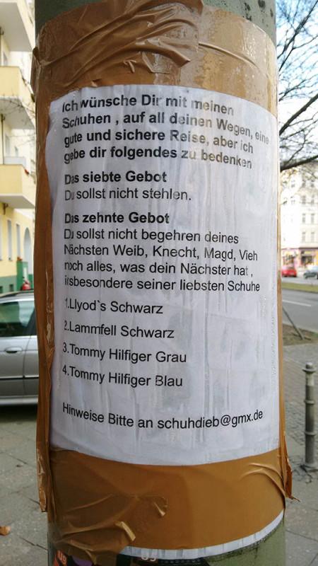 Schuhdieb Berlin Schuhe gestohlen Diebe Berlin Alles wird geklaut