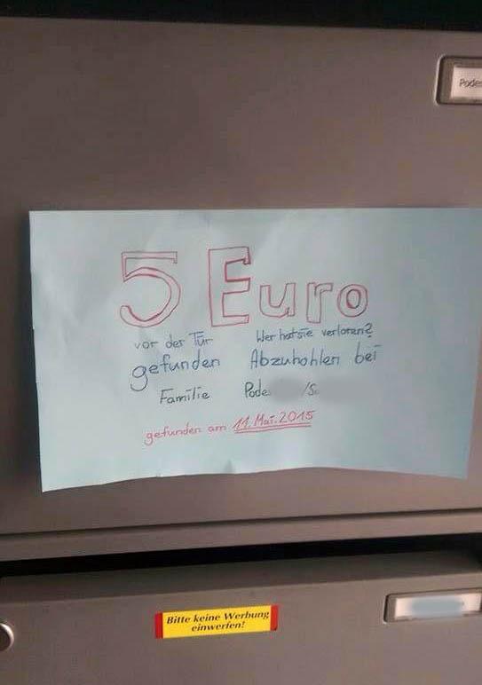 5 Euro verloren Berlin ehrliche Nachbarn