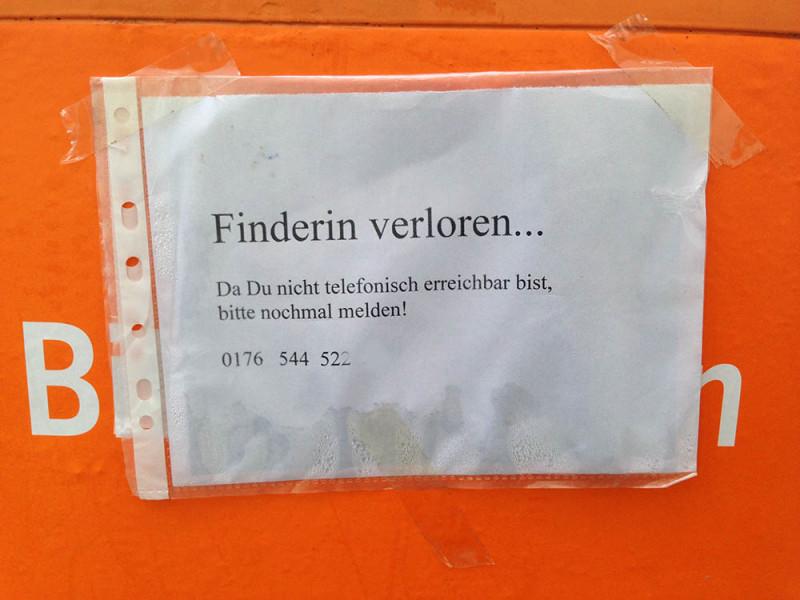 Finderin Finderlohn Berlin Zettel Aushang
