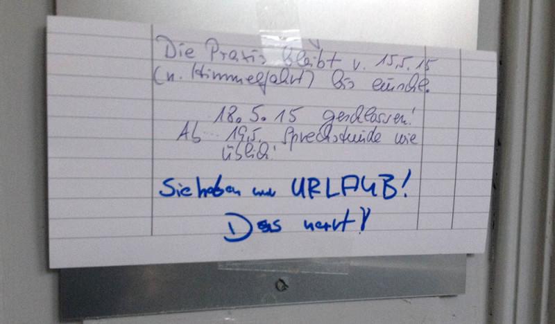 Praxis geschlossen Himmelfahrt Berlin
