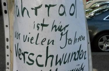 Fahrrad gefunden verschwunden Berlin
