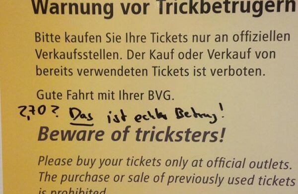 BVG Tickets teuer