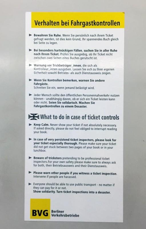 BVG Verhalten bei Fahrgastkontrollen