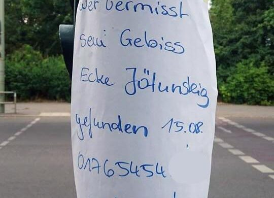 Gebiss verloren gefunden Berlin