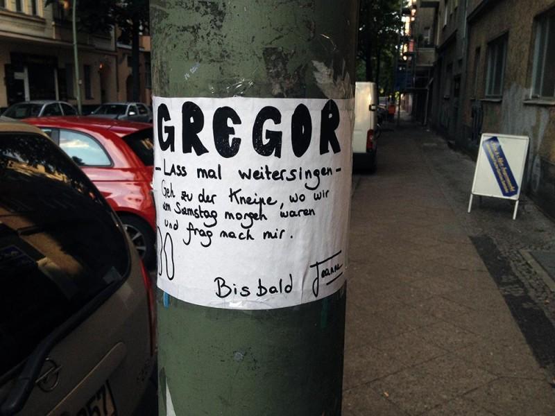 Liebe Gregor Berlin Kneipe singen Samstag