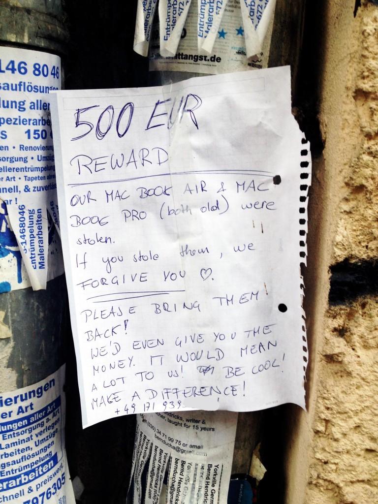 500 Euro reward laptop notebook stolen in Berlin