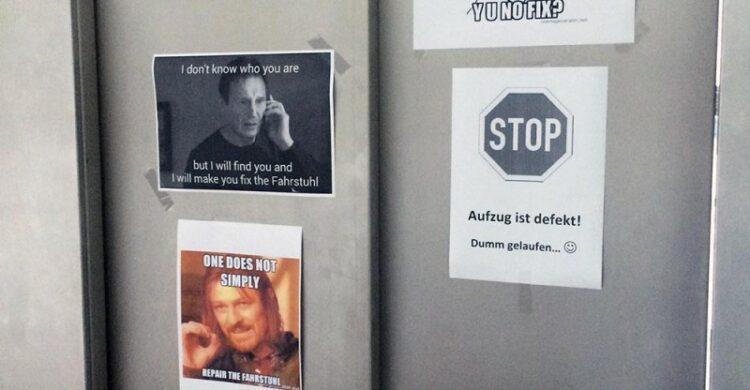 Der Technicker ist informiert Die Tür ist defekt Meme Uni Mainz