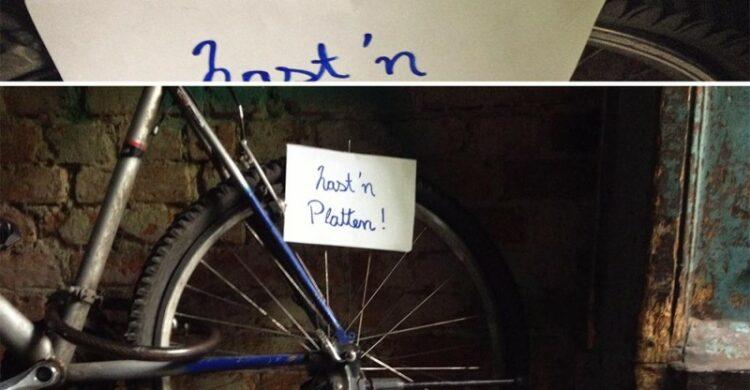 Fahrradreifen zerstochen in Berlin Kreuzberg Pass auf dein Fahrrad auf