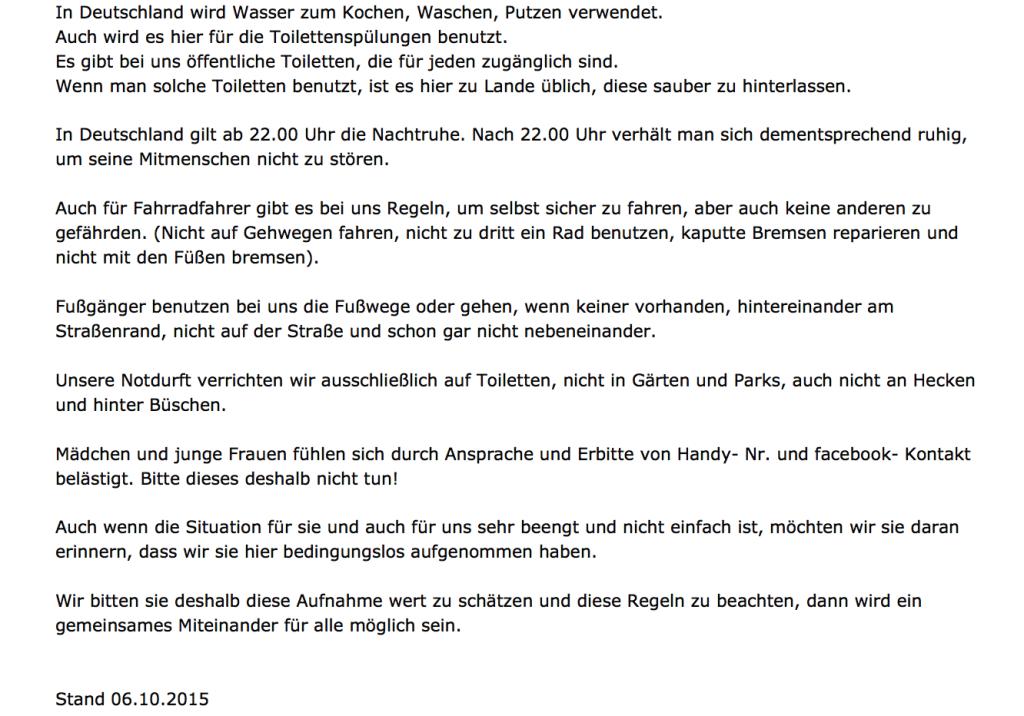 Hardheim-Benimm-Regeln für Flüchtlinge