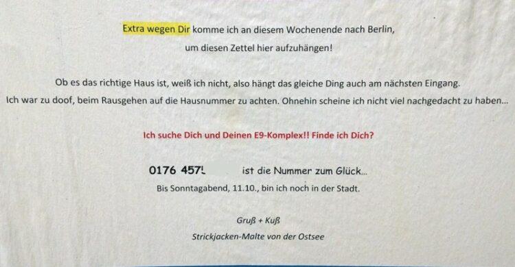Traumlocken Der Liebe wegen nach Berlin Single Hauptstadt Liebeszettel