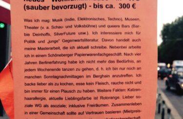 Wohnungssuche Berlin mit Aushang Zettel Notes of Berlin
