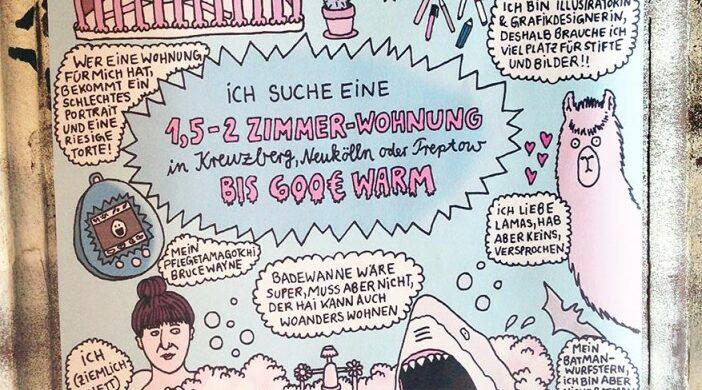 Wohnungssuche WG-Suche wg-gesucht Berlin mit Aushang Zettel Notes of Berlin