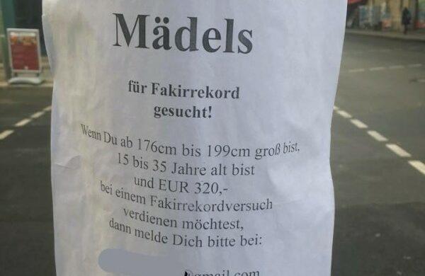 Fakirrekord Cooler Studentenjob in Berlin fuer Frauen Nebenjob fuer Frauen in Berlin