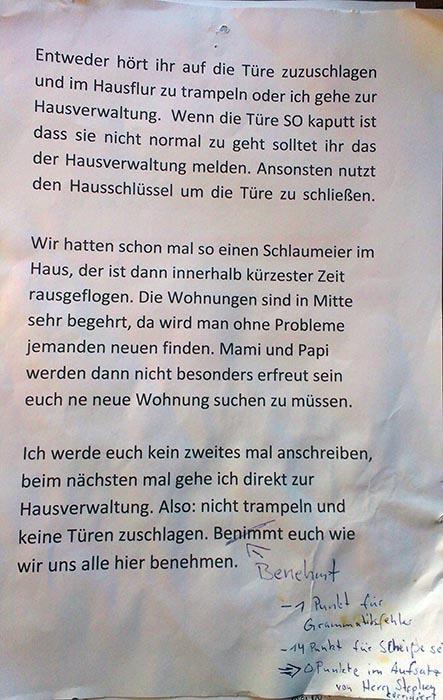 Aerger mit lauten Nachbarn in Berlin