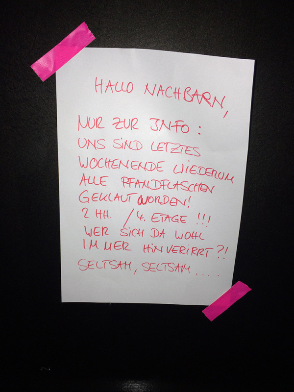 Pfandflaschen Berlin klauen geklaut