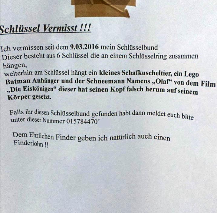 Lost & Found - Schlüsselbund mit Anhang gesucht - NOTES OF BERLIN