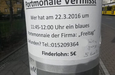 Geldbeutel verloren Berlin Finderlohn