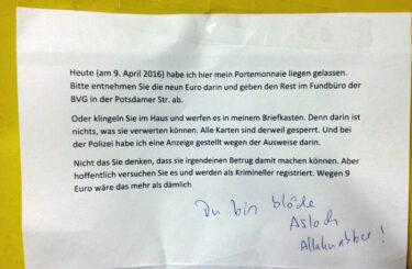 Geldbeutel verloren Berlin Fundstelle