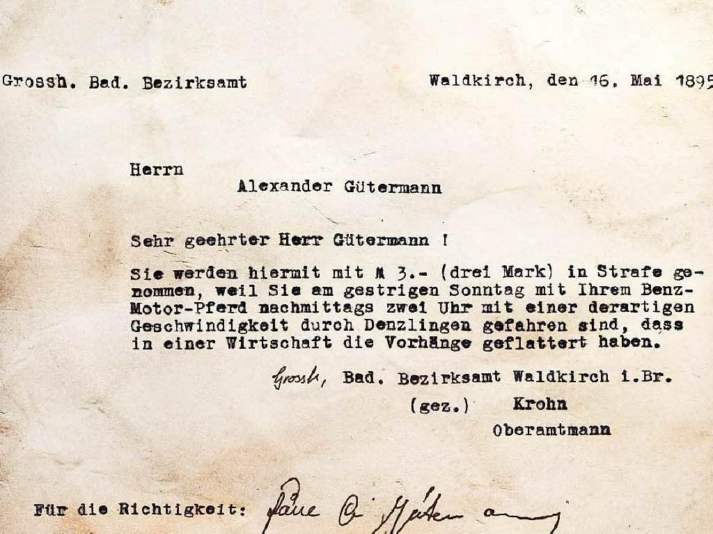 Alexander Gütermann Strafzettel