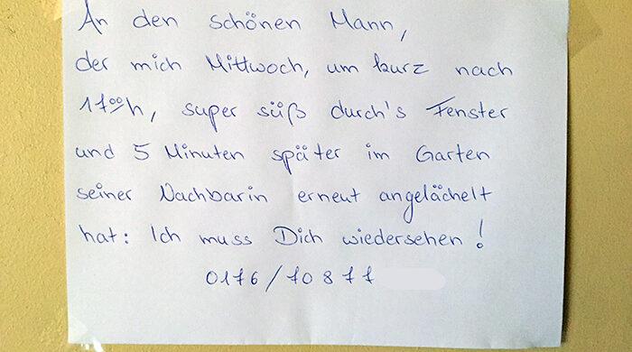 Romantischer Zettel Brief