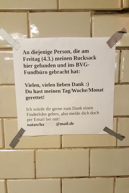 Ein rucksack wurde im bvg fundb ro in berlin abgegeben - Fundburo berlin ...