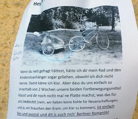 Sauer auf Fahrraddiebe in Berlin