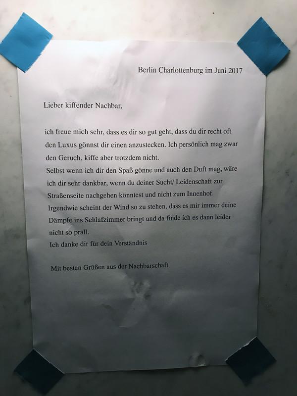 kiffender Nachbar Berlin