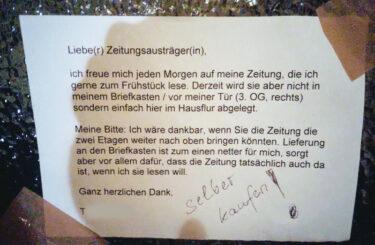 Problem mit Zeitungsausträger Berlin