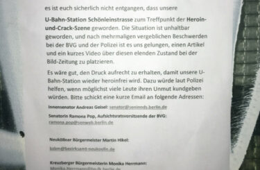 Drogen U-Bahnhof Schönleinstr