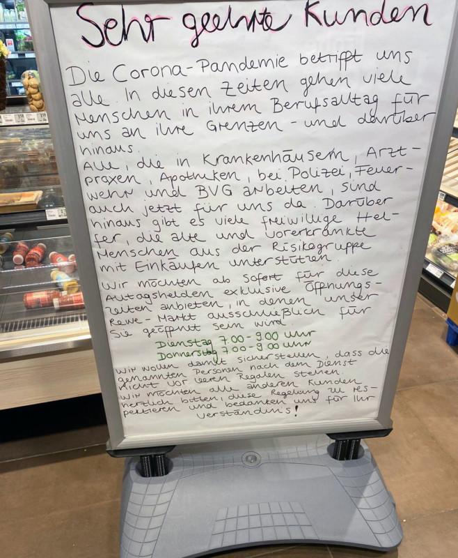 Corona Supermarkt Öffnungszeiten